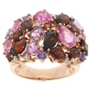 14K Pink Gold With Diamonds, Amethyst, Garnet, Pink Sapphire (Singapore)