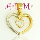 Gold Heart Pendant with CZ (Spain)
