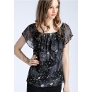 Space Printed Silk Chiffon Top         (Hong Kong)
